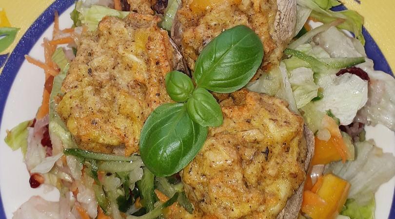 Rezept für gefüllte Champignons mit leckerem Salat